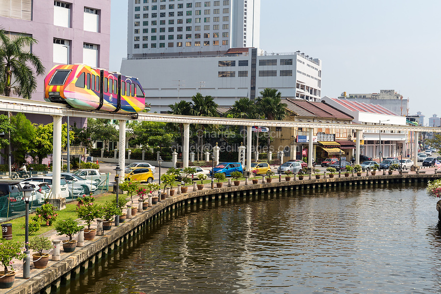 Monorail along the Melaka River, Melaka, Malaysia.