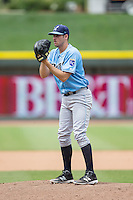Wilmington Blue Rocks starting pitcher Corey Ray (26) looks to his catcher for the sign against the Winston-Salem Dash at BB&T Ballpark on June 5, 2016 in Winston-Salem, North Carolina.  The Dash defeated the Blue Rocks 4-0.  (Brian Westerholt/Four Seam Images)