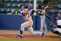 Tennessee Smokies outfielder Matt Szczur #4 hits a home run during a game against the Huntsville Stars on April 16, 2013 at Joe W Davis Municipal Stadium in Huntsville, Alabama.  Tennessee defeated Huntsville 4-3.  (Mike Janes/Four Seam Images)