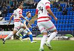 St Johnstone v Hamilton Accies...12.09.15  SPFL McDiarmid Park, Perth<br /> Liam Craig scores St Johnstone's first goal<br /> Picture by Graeme Hart.<br /> Copyright Perthshire Picture Agency<br /> Tel: 01738 623350  Mobile: 07990 594431