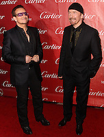 PALM SPRINGS, CA - JANUARY 04: Bono, Paul David Hewson, The Edge, David Howell Evans of U2 arriving at the 25th Annual Palm Springs International Film Festival Awards Gala held at Palm Springs Convention Center on January 4, 2014 in Palm Springs, California. (Photo by Xavier Collin/Celebrity Monitor)