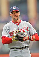 11 April 2012: Washington Nationals infielder Mark DeRosa warms up prior to a game against the New York Mets at Citi Field in Flushing, New York. The Nationals shut out the Mets 4-0 to take the rubber match of their 3-game series. Mandatory Credit: Ed Wolfstein Photo