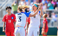 Cary, NC - Sunday October 22, 2017: Samantha Mewis celebrates her goal with Julie Ertz during an International friendly match between the Women's National teams of the United States (USA) and South Korea (KOR) at Sahlen's Stadium at WakeMed Soccer Park.