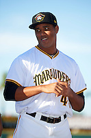 Bradenton Marauders pitcher Yeudy Garcia (45) during introductions before a game against the Fort Myers Miracle on April 9, 2016 at McKechnie Field in Bradenton, Florida.  Fort Myers defeated Bradenton 5-1.  (Mike Janes/Four Seam Images)