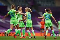 21st August 2020, San Sebastian, Spain;  Players of Vfl Wolfsburg celebrate their first goal during the UEFA Womens Champions League football match Quarter Final between Glasgow City and VfL Wolfsburg