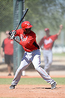 Cincinnati Reds outfielder Aristides Aquino (73) during an instructional league game against the Cleveland Indians on September 28, 2013 at Goodyear Training Complex in Goodyear, Arizona.  (Mike Janes/Four Seam Images)