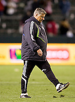 Seattle Sounders head coach Sigi Schmid kicks a divot of grass after losing the Chivas USA. Chivas USA defeated the Seattle Sounders 1-0 at Home Depot Center stadium in Carson, California on Saturday evening June 6, 2009.   .