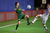 LAKE BUENA VISTA, FL - AUGUST 11: Jorge Villafana #4 of the Portland Timbers kicked the ball during a game between Orlando City SC and Portland Timbers at ESPN Wide World of Sports on August 11, 2020 in Lake Buena Vista, Florida.