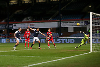 27th March 2021; Dens Park, Dundee, Scotland; Scottish Championship Football, Dundee FC versus Dunfermline; Dunfermline Athletic goalkeeper Owain Fon Williams makes a diving save to deny Osman Sow of Dundee