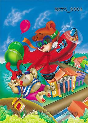 Alfredo, CUTE ANIMALS, paintings, 2 animals flying(BRTO9904,#AC#) illustrations, pinturas ,everyday