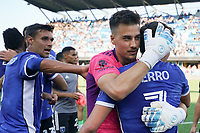 SAN JOSE, CA - AUGUST 8: JT Marcinkowski #1 celebrates with Carlos Fierro #7 of the San Jose Earthquakes after a game between Los Angeles FC and San Jose Earthquakes at PayPal Park on August 8, 2021 in San Jose, California.