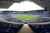A general view of the empty seats at the Cardiff City Stadium as the televised fixture suffers a low attendance during The Emirates FA Cup 3rd Round match between Cardiff City and Fulham at The Cardiff City Stadium, Wales, UK. Sunday 08 January 2017