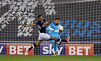 James Meredith of Millwall tries to block the clearance of Goalkeeper Bartosz Bialkowski of Ipswich Town during the Sky Bet Championship match between Millwall and Ipswich Town at The Den, London, England on 15 August 2017. Photo by Alan  Stanford / PRiME Media Images.