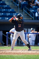Lowell Spinners catcher Alberto Schmidt (20) at bat during a game against the Staten Island Yankees on August 22, 2018 at Richmond County Bank Ballpark in Staten Island, New York.  Staten Island defeated Lowell 10-4.  (Mike Janes/Four Seam Images)