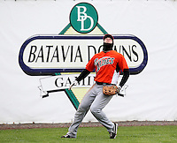 Norfolk Tides outfielder Jamie Hoffmann #33 catches a fly ball during a game against the Empire State Yankees at Dwyer Stadium on April 22, 2012 in Batavia, New York.  Empire State defeated Norfolk 6-5, the Yankees are playing all their games on the road this season as their stadium gets renovated.  (Mike Janes/Four Seam Images)
