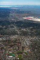 high overview aerial photograph Palo Alto, Stanford University, El Camino Real, Santa Clara county, California