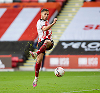 31st October 2020; Bramall Lane, Sheffield, Yorkshire, England; English Premier League Football, Sheffield United versus Manchester City; George Baldock of Sheffield United misses a volley on his goal area