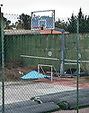 An basketball court at the side of the former home of former Celtic player Jorge Cadete, who lost his fortune earned as a footballer, that was repossessed by the bank.