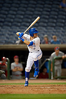 Dunedin Blue Jays third baseman Cullen Large (4) at bat during a Florida State League game against the Clearwater Threshers on April 4, 2019 at Spectrum Field in Clearwater, Florida.  Dunedin defeated Clearwater 11-1.  (Mike Janes/Four Seam Images)