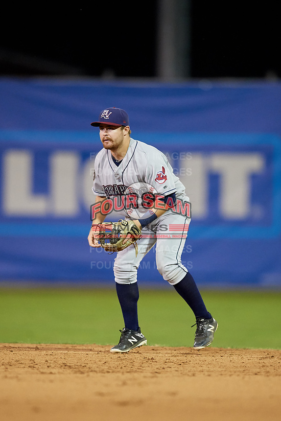 Mahoning Valley Scrappers second baseman Dillon Persinger (50) during the second game of a doubleheader against the Batavia Muckdogs on August 28, 2017 at Dwyer Stadium in Batavia, New York.  Mahoning Valley defeated Batavia 2-0.  (Mike Janes/Four Seam Images)