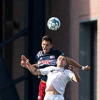 FOXBOROUGH, MA - JULY 25: USL League One (United Soccer League) match. Collin Verfurth #35 of New England Revolution II and Ethan Vanacore-Decker #7 of Union Omaha battle for head ball during a game between Union Omaha and New England Revolution II at Gillette Stadium on July 25, 2020 in Foxborough, Massachusetts.