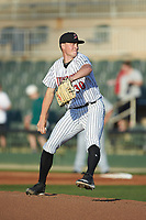 Kannapolis Intimidators starting pitcher Kade McClure (30) in action against the Hickory Crawdads at Kannapolis Intimidators Stadium on May 2, 2018 in Kannapolis, North Carolina.  The Intimidators defeated the Crawdads 9-6.  (Brian Westerholt/Four Seam Images)