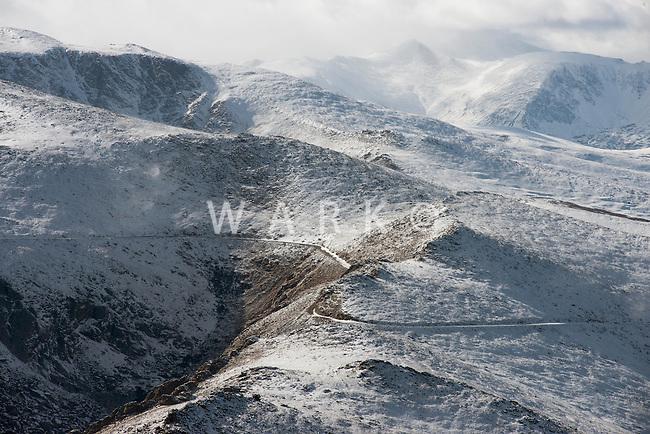 Mount Evans Scenic Byway in winter. Summit County, Colorado