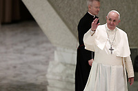 """Pope Francis waves faithful as he arrives to lead an audience with members of the """"Yo Puedo!"""" project in the Paul VI hall at the Vatican on November  30, 2019.<br /> UPDATE IMAGES PRESS/Isabella Bonotto<br /> <br /> STRICTLY ONLY FOR EDITORIAL USE"""