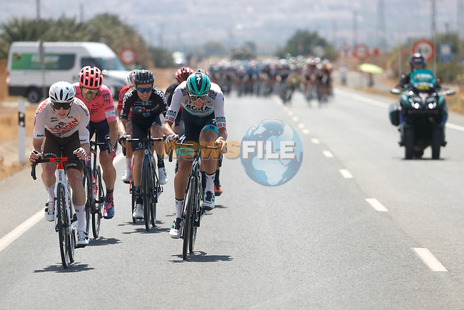 The breakaway forms during Stage 11 of La Vuelta d'Espana 2021, running 133.6km from Antequera to Valdepeñas de Jaén, Spain. 25th August 2021.     <br /> Picture: Luis Angel Gomez/Photogomezsport | Cyclefile<br /> <br /> All photos usage must carry mandatory copyright credit (© Cyclefile | Luis Angel Gomez/Photogomezsport)