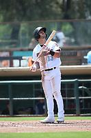 Orlando Martinez (13) of the Inland Empire 66ers bats against the Lake Elsinore Storm at San Manuel Stadium on June 5, 2019 in San Bernardino, California. (Larry Goren/Four Seam Images)