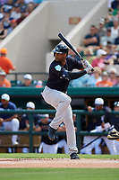 New York Yankees center fielder Aaron Hicks (31) at bat during a Grapefruit League Spring Training game against the Detroit Tigers on February 27, 2019 at Publix Field at Joker Marchant Stadium in Lakeland, Florida.  Yankees defeated the Tigers 10-4 as the game was called after the sixth inning due to rain.  (Mike Janes/Four Seam Images)