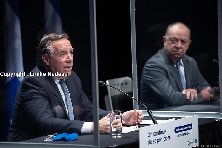 Point de presse <br /> du premier ministre du Québec, M. François Legault,<br /> avec le ministre de la Santé et des Services sociaux, M. Christian Dubé, et le directeur national de la santé publique, M. Horacio Arruda<br /> le 26 Octobre 2020<br /> <br /> PHOTO :  Emilie Nadeau