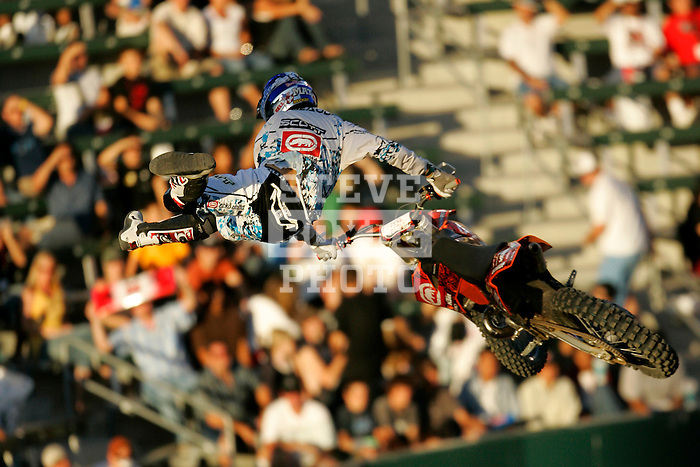 Mat Rebeaud competes in the Moto X Freestyle elimination round during X-Games 12 in Los Angeles, California on August 5, 2006.