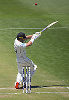 NZ's Neil Wagner hits a six during day two of the second International Test Cricket match between the New Zealand Black Caps and West Indies at the Basin Reserve in Wellington, New Zealand on Friday, 11 December 2020. Photo: Dave Lintott / lintottphoto.co.nz