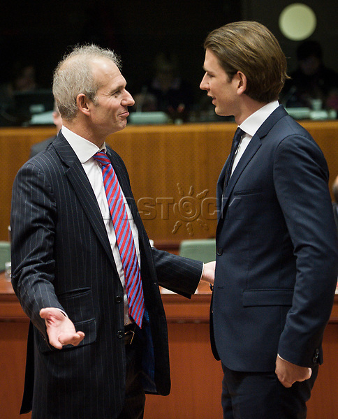 British Foreign Secretary Philip Hammond (L) and Austrian Foreign Minister Sebastian Kurz  prior to the European Union Foreign Ministers Council at EU headquarters  in Brussels, Belgium on 29.01.2015 Federica Mogherini , EU High representative for foreign policy called extraordinary meeting on the situation in Ukraine after the attack on Marioupol.  by Wiktor Dabkowski