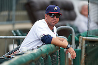 NW Arkansas Naturals manager Vance Wilson (13) in the dugout before a game against the San Antonio Missions on May 30, 2015 at Arvest Ballpark in Springdale, Arkansas.  San Antonio defeated NW Arkansas 5-1.  (Mike Janes/Four Seam Images)