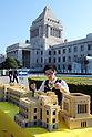 Scale model of Japan's Diet building made of Lego