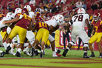 LOS ANGELES, CA - SEPTEMBER 11: Isaiah Sanders #0 of the Stanford Cardinal runs in for a touchdown during a game between University of Southern California and Stanford Football at Los Angeles Memorial Coliseum on September 11, 2021 in Los Angeles, California.