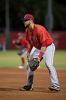 AZL Angels first baseman Brett Bond (10) during an Arizona League game against the AZL Indians 2 at Tempe Diablo Stadium on June 30, 2018 in Tempe, Arizona. The AZL Indians 2 defeated the AZL Angels by a score of 13-8. (Zachary Lucy/Four Seam Images)