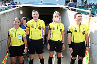 CARY, NC - SEPTEMBER 12: The match officials: Assistant Referee Deleana Quan, Referee Matt Franz, Fourth Official Alexandra Billeter, and Assistant Referee Jeremy Smith pose for a photo before a game between Portland Thorns FC and North Carolina Courage at Sahlen's Stadium at WakeMed Soccer Park on September 12, 2021 in Cary, North Carolina.