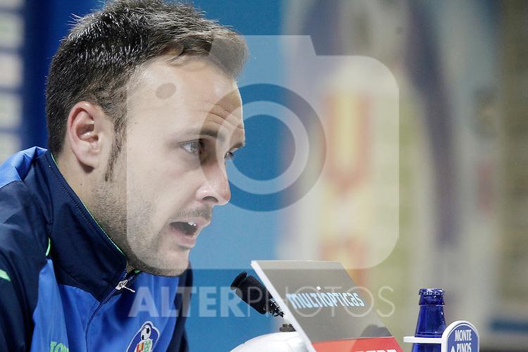 Getafe's Juan Cala in press conference after La Liga match. February 27,2016. (ALTERPHOTOS/Acero)