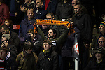 """© Joel Goodman - 07973 332324 . 14/11/2015 . Manchester , UK . FC United fan with """" Refugees Welcome """" scarf . FC United host Gainsborough Trinity in the National League North at Broadhurst Park . NB requested changing room access three times and was denied three times . Photo credit : Joel Goodman"""