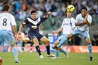 MELBOURNE, AUSTRALIA - FEBRUARY 18, 2010: Nik Mrdja from Melbourne Victory goes for goal in the first leg of the A-League Major Semi Final match between the Melbourne Victory and Sydney FC at Etihad Stadium on February 18, 2010 in Melbourne, Australia. Photo Sydney Low www.syd-low.com