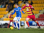 St Johnstone v Partick Thistle…02.03.16  SPFL McDiarmid Park, Perth<br />Danny Swanson holds off Liam Lindsay<br />Picture by Graeme Hart.<br />Copyright Perthshire Picture Agency<br />Tel: 01738 623350  Mobile: 07990 594431