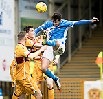 Motherwell v St Johnstone…18.03.17     SPFL    Fir Park<br />Joe Shaughnessy heads over the bar<br />Picture by Graeme Hart.<br />Copyright Perthshire Picture Agency<br />Tel: 01738 623350  Mobile: 07990 594431