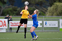 Hope Gilchrist of Capital competes for the ball with Amy Hislop of Southern during the Handa Women's Premiership - Capital Football v Southern United at Petone Memorial Park, Wellington on Saturday 7 November 2020.<br /> Copyright photo: Masanori Udagawa /  www.photosport.nz