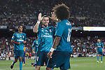 Marcelo da Silva of Real Madrid celebrating the opening goal of Real Madrid with Gareth Bale of Real Madrid (L) during the Supercopa de Espana Final 1st Leg match between FC Barcelona and Real Madrid at Camp Nou on August 13, 2017 in Barcelona, Spain. Photo by Marcio Rodrigo Machado / Power Sport Images