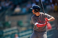 Lehigh Valley IronPigs third baseman Mitch Walding (10) at bat during a game against the Rochester Red Wings on July 1, 2018 at Frontier Field in Rochester, New York.  Rochester defeated Lehigh Valley 7-6.  (Mike Janes/Four Seam Images)