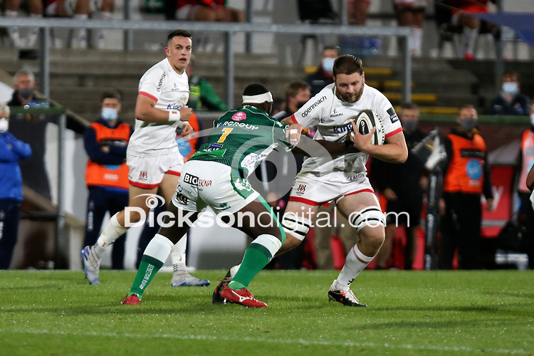 Friday 2nd October 2020   Ulster Rugby vs Benetton Rugby<br /> <br /> Iain Henderson is tackled by Cherif Traore during the PRO14 Round 1 clash between Ulster Rugby and Benetton Rugby at Kingspan Stadium, Ravenhill Park, Belfast, Northern Ireland. Photo by John Dickson / Dicksondigital