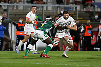 Friday 2nd October 2020 | Ulster Rugby vs Benetton Rugby<br /> <br /> Iain Henderson is tackled by Cherif Traore during the PRO14 Round 1 clash between Ulster Rugby and Benetton Rugby at Kingspan Stadium, Ravenhill Park, Belfast, Northern Ireland. Photo by John Dickson / Dicksondigital
